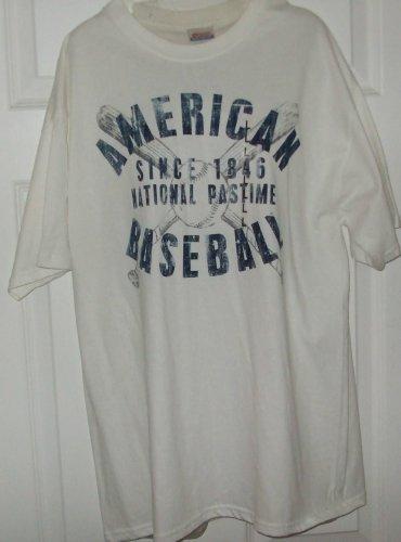NEW mens L nation pastime Short Sleeve BASEBALL tee shirt preshrunk cotton top