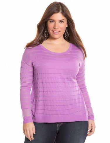 NEW womens $49 illusion sweater blouse LANE BRYANT 3X 4X mesh stripe top shirt