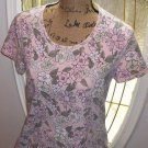 CROFT & BARROW stretch tee blouse PINK floral Large cotton top