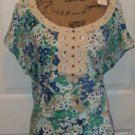 $49 LANE BRYANT CROCHET LACE floral blouse size 16 open sleeve cotton modal top