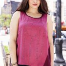 New burgundy MAURICES rhinestone stud Hi Lo tank blouse plus size 3 4 top shirt