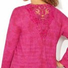 New $44 hot pink crochet back embell AVENUE knit hi lo blouse 3X 4X 5X plus top