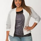 NWT $79 LANE BRYANT rib knit zip sweater Jacket coat ivory gray size 14 top
