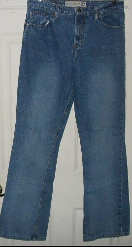 "MAURICES cotton JEANS 9/10 size 32/32 womens mild destructed pant hip 19"" across"