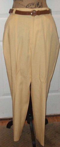 "NEW $32 yellow slacks & belt Fundamental things petite size 16 hip to hip 22"""