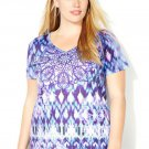 New $40 Ikat blues embellished AVENUE knit tee blouse 3X 4X plus top