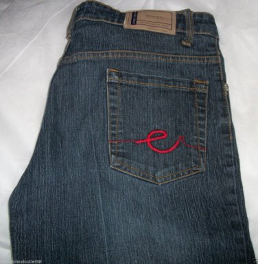 New $52 Zoey Beth jeans boot cut size 13/14 reg Wash MED Dark red stitch pants