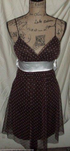 $58 dress TABOO brown white polka dots sheer draping M spaghetti strap poly top