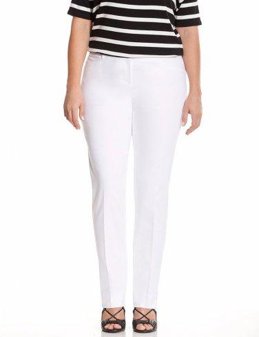 $49 sexy stretch Lane Bryant white straight leg slacks size 16 press pants