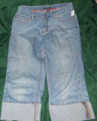 $45 capri jeans shorts Liz Claiborne destroyed cuff leg size 6 reg pant bottom