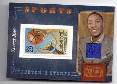 Derrick Rose /250 jersey swatch & stamp relic Chicago Bull Centy basketball card