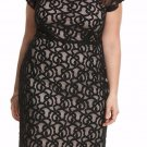 NWT $89 black floral lace dress LANE BRYANT net shoulder soft lined size 28