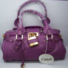 LEATHER BAG DEEP PURPLE WITH BRASS TONE HARDWARE CP