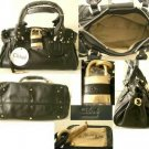 BLACK LEATHER BAG WITH ALL BRASS TONE HARDWARE CP