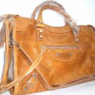 DE MIX MOTORCYCLE LEATHER BAG IN OAK COLOUR