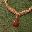 Macrame Choker w/Red and Green Bead (MJ005)
