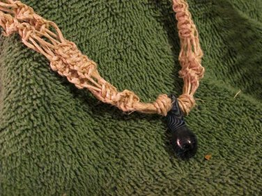 Macrame Necklace w/Dark Blue Bead (MJ006)