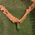 Macrame Necklace w/Green and Red Bead (MJ016)