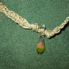 Macrame Necklace w/Rose Bead (MJ019)