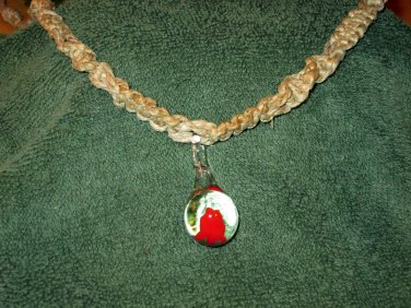 Macrame Necklace w/Rose Bead (MJ025)