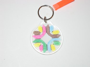 Round Key Ring w/Snowflake Design (KR007)
