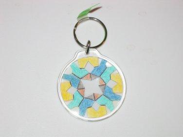 Round Key Ring w/Snowflake Design (KR010)