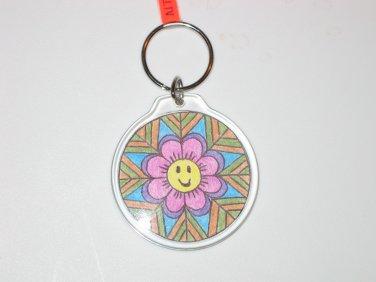 Round Key Ring w/Happy Face Design (KR012)