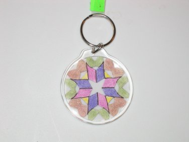 Round Key Ring w/Snowflake Design (KR013)