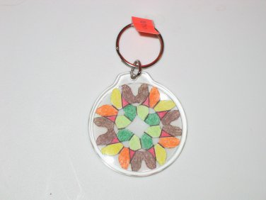 Round Key Ring w/Snowflake Design (KR014)