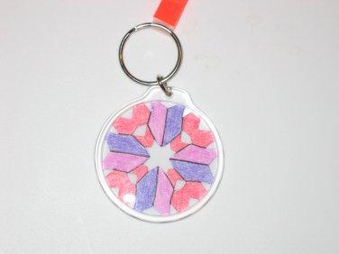 Round Key Ring w/Snowflake Design (KR016)