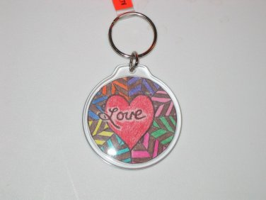 Round Key Ring w/Love & Peace Sign (KR021)