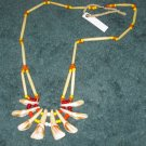 Elk Tooth Necklace w/Hair Pipe & Beads (SS010)