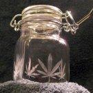 Square Nug Jug With Pot Leaf Etching (EG013)
