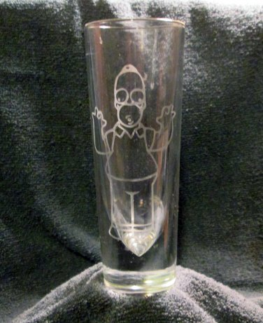 Drinking Glass with Homer Etching (EG018)