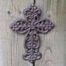 Rustic Metal Work Fleur De Lis Flower Art Design Symbol Hanging Trinity Cross Rust