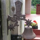 Rustic Distressed Cast Iron Hanging Bell Country Western Cowboy Boot Spur Bracket Mount
