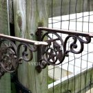 2 Rustic Cast Iron Hanging Wall Brackets Shelf Brace Western Cross Gun Pistol American Heritage