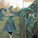 Cast Iron Green Verdigris Color Plant Vine Garden Yard Bell Metal Bracket Mount Dinner Bell