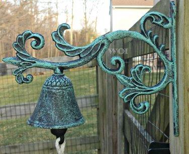 Cast Iron Green Verdigris Color Plant Vine Garden Yard Bell Metal Bracket Mount Dinner Bell