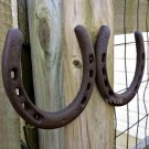 Lot of 2 Shabby Metal Horseshoes Barn Door Hanging Country Western Lucky Decal Prop Horse Shoe Set
