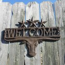 Distressed Longhorn Bull Head Welcome Sign Metal Sculpture Barn Fence Ornament Cattle Sign Worn Rust