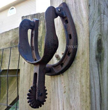 Country Western Door Knocker Horseshoe Cowboy Boot Spur Metal Door Hardware  Mount Rust Door Knock