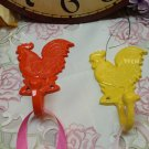 2 Metal Hanging Country Rooster Utility Hooks Utensil Hanger Kitchen Wall Decor Pot Holder Hooks