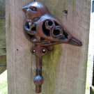 Adorable Cast Iron Rustic Bird Statue Sculpture Hanging Wall Clothing Coat Hook Rack Distressed
