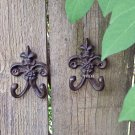 Set of 2 Rustic Weathered Fleur De Lis Metal Symbol Floral Wall Sculpture Hook Hanger Rust