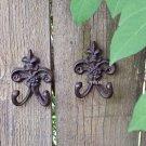 Set of 2 Rustic Weathered Fleur De Lis Metal Symbol Floral Wall Sculpture Hook Hanger Rust