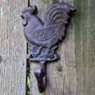 Distressed Rustic Metal Country Rooster Wall Hook Farm Chicken Utensil Hanger Worn Rust