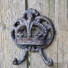 Distressed Monarch Circlet King Crown Fleur De Lis Symbol Cross Metal Wall Art Trophy Hook