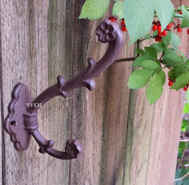Rustic Weathered Cast Iron Ivy Vine Flower Pot Hook Wall Planter Hanger Plant Holder Rust