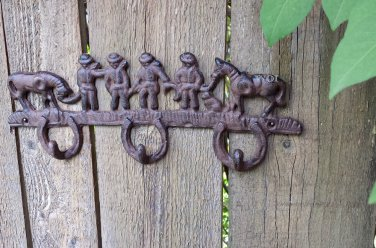 Distressed Old Wild West Rancher Cowboy Sign Western Plaque Wall Key Hook Cast Iron Rust